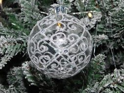 grey Christmas Bauble
