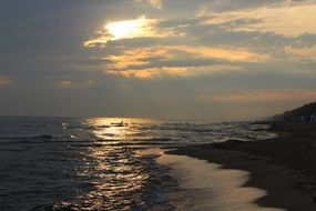 Baltic sea coast during sunset