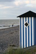 beach hut with blue stripes