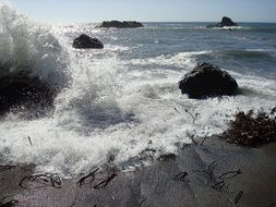 splashes of waves on the shore rocks