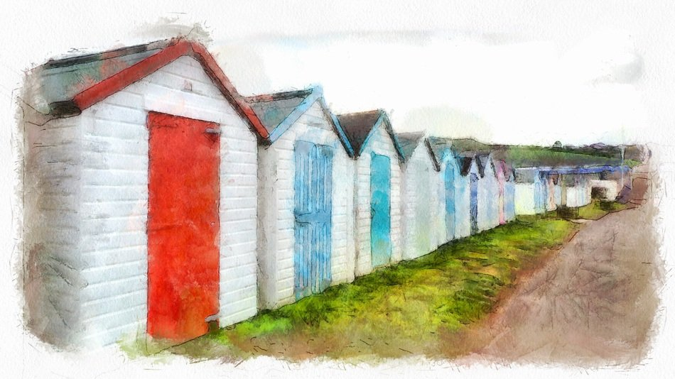 row of Beach Huts on Seaside