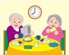 painted elderly couple having breakfast at the table