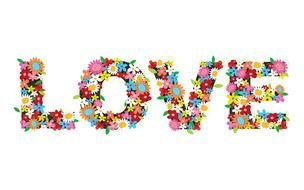 word love made of flowers