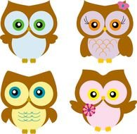 Beautiful colorful owls clipart