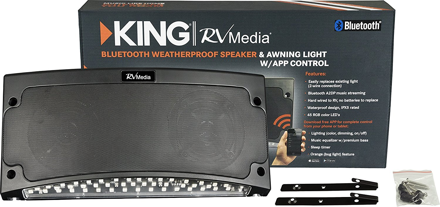 King Rvm2001 Premium Bluetooth Outdoor Speaker With Multi Color Led Light And App Control Black N5 Free Image