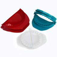 HUJI Dough Press Set Dough Pastry Baking Kitchen Dumpling Calzone Ravioli Empanada Turnover Tool (1, Red/White...