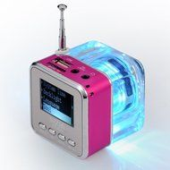 Portable Mini Music MP3/4 Player Micro SD/TF USB Disk Speaker Amplifier FM Radio(Green/Rose/Blue/Silver/Black/... N7
