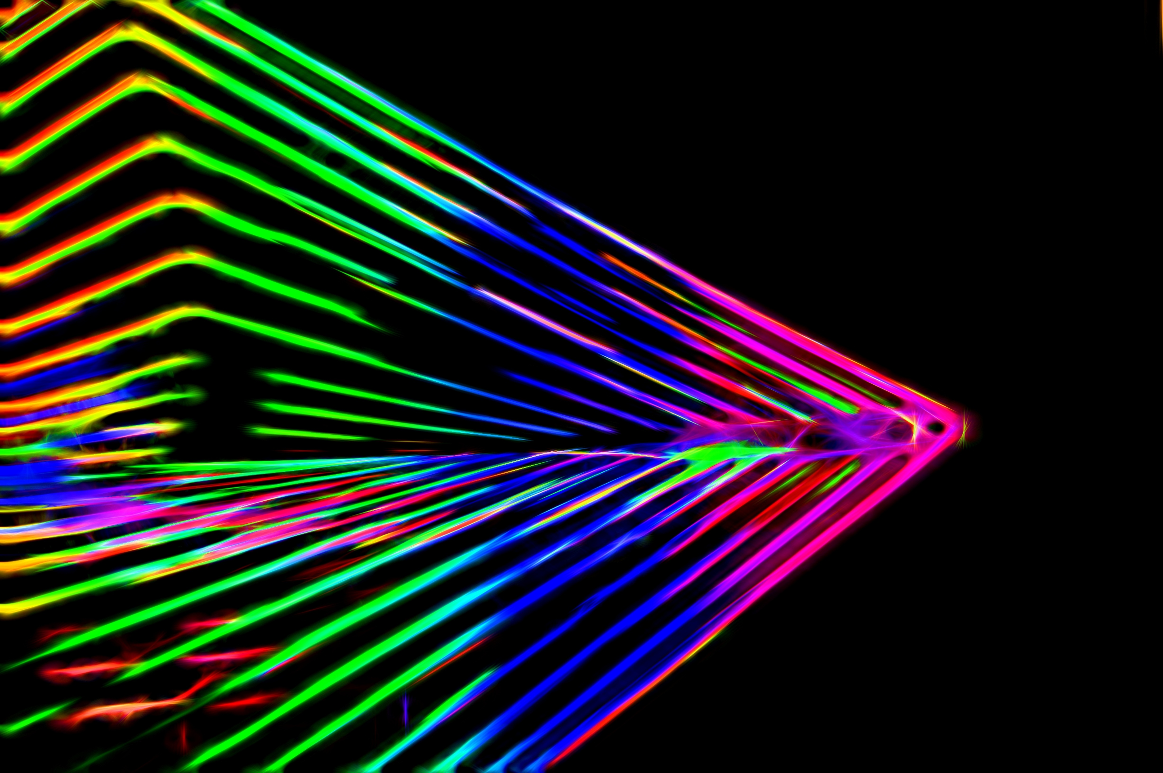Abstract Neon Lines Black Background Free Image