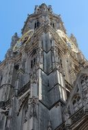 View of the cathedral with bell tower in Antwerp, belgium