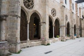 arches of the monastery in the Romanesque style in Spain