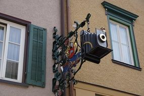 home facade with old camera rottweil germany