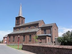 red brick church building, france, beugnies