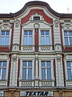"facade with the inscription ""Textar"" in the city of Bydgoszcz"