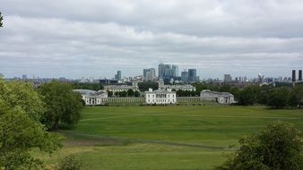 distant view of city in London
