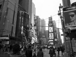 black and white photo of Times Square in New York City