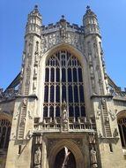 medieval Bath Abbey, west elevation, uk, england