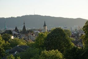 View of the roofs and spiers of the old city in Zurich