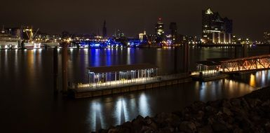 panorama of the port in the night hamburg