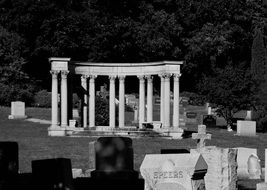 greek columns in a cemetery