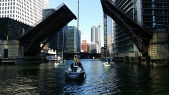 drawbridge in chicago in the shade