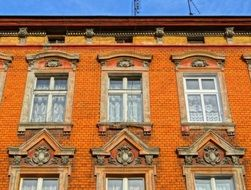 bydgoszcz facade red brick pilasters windows building