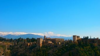 panorama of the old castle in Granada