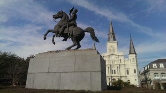 the monument of a rider on a horse new orleans city