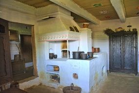 Kitchen in a house in an open-air museum, sanok