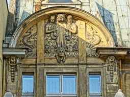 bydgoszcz relief small capitals pilasters windows roof architecture building