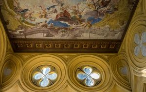painted ceiling of a luxury building on Lake Garda