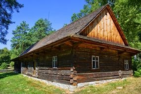 old wooden house in the museum in Sanok