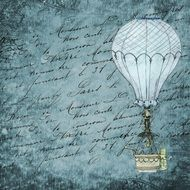 hot air balloon blue background