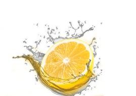 lime lemon water white background