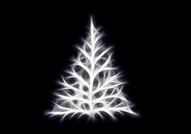 greeting card light christmas tree black background