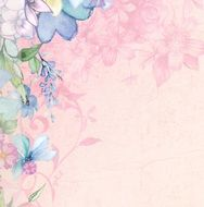 pink flowers on scrapbook paper