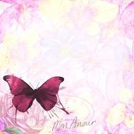 pink butterfly french grunge wall