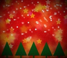 greeting card christmas trees stars