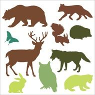 forest animals set drawing
