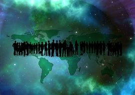 crowd of people on the universe background
