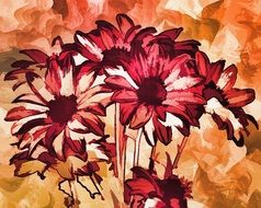 abstract pattern flowers decoration digital painting
