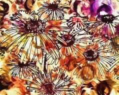 abstract pattern colorful flowers digital art