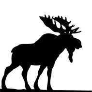 black silhouette of a deer