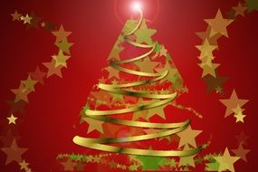 red background with golden stars and Christmas tree