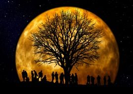 silhouette of people group on the moon background