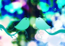 Decorative bird on a colored background