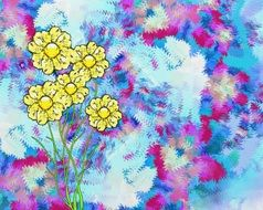 backdrop colorful background yellow flowers digital art