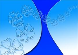 flowers outlines on a blue background