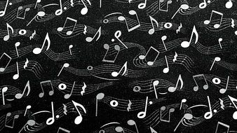 black background with flying music notes