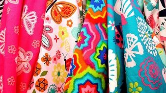 colorful fabrics with summer patterns