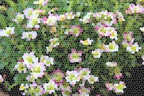mosaic with flowering bush pattern